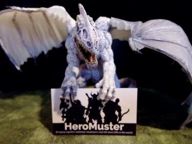 Dragon miniature with HeroMuster card
