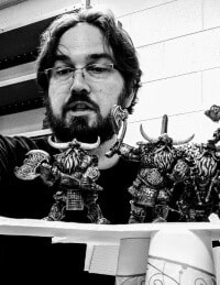 Michael Tracey repositioning miniatures in black and white